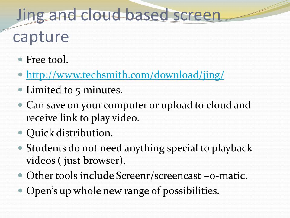 Jing and cloud based screen capture Free tool.