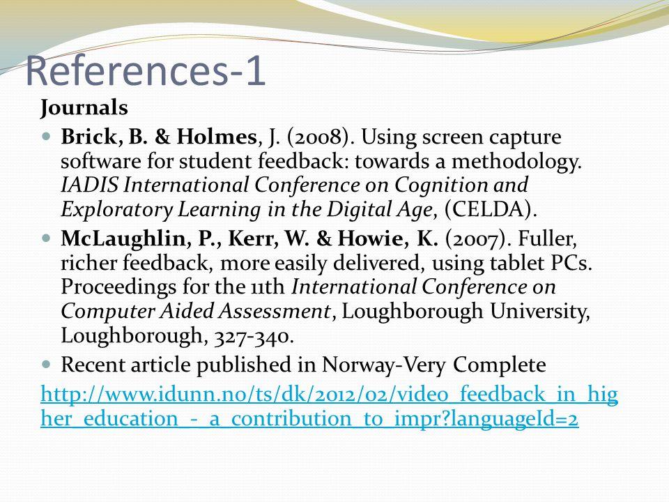 References-1 Journals Brick, B. & Holmes, J. (2008).