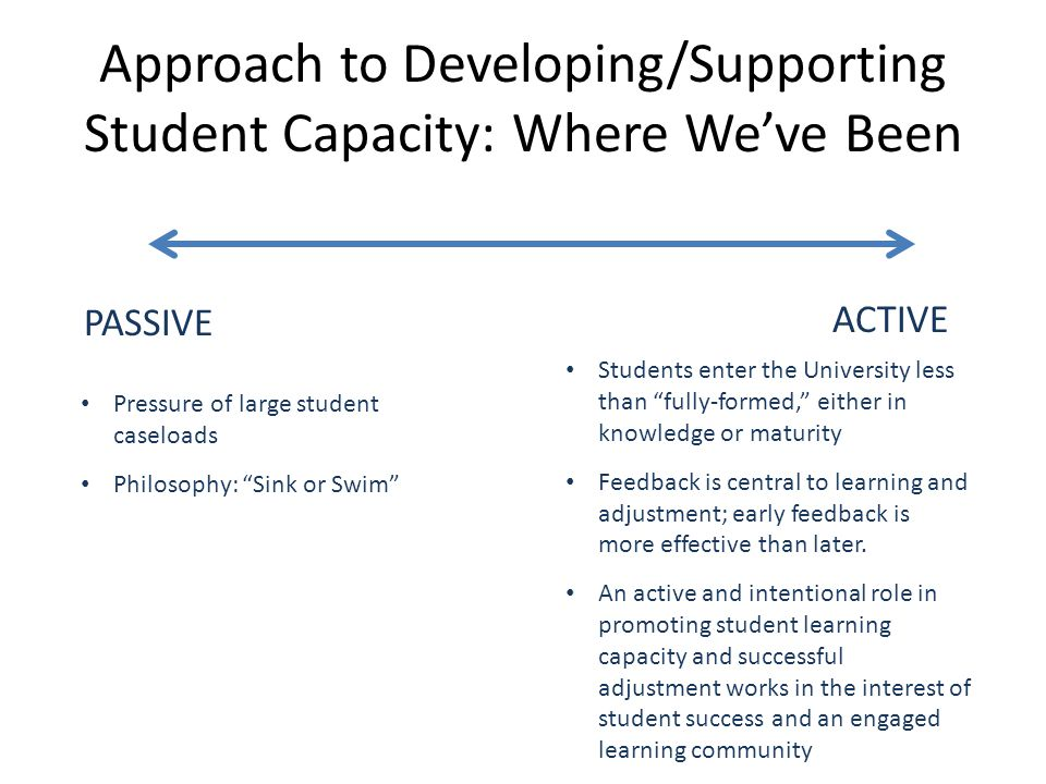 Approach to Developing/Supporting Student Capacity: Where Weve Been PASSIVE ACTIVE Pressure of large student caseloads Philosophy: Sink or Swim Studen