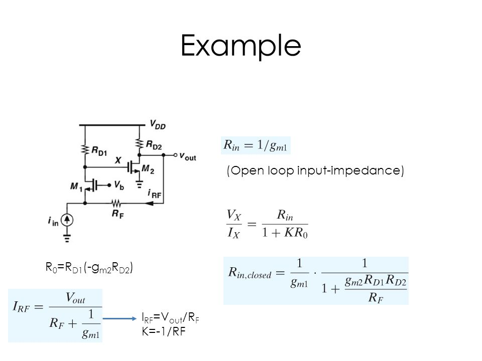 Example (Open loop input-impedance) R 0 =R D1 (-g m2 R D2 ) I RF =V out /R F K=-1/RF