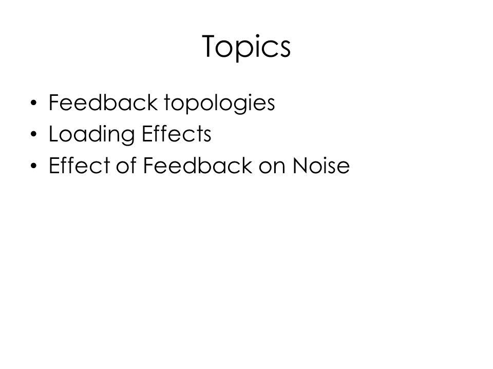 Topics Feedback topologies Loading Effects Effect of Feedback on Noise