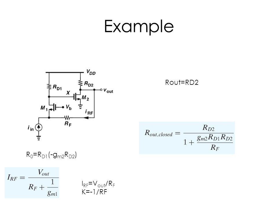 Example Rout=RD2 R 0 =R D1 (-g m2 R D2 ) I RF =V out /R F K=-1/RF