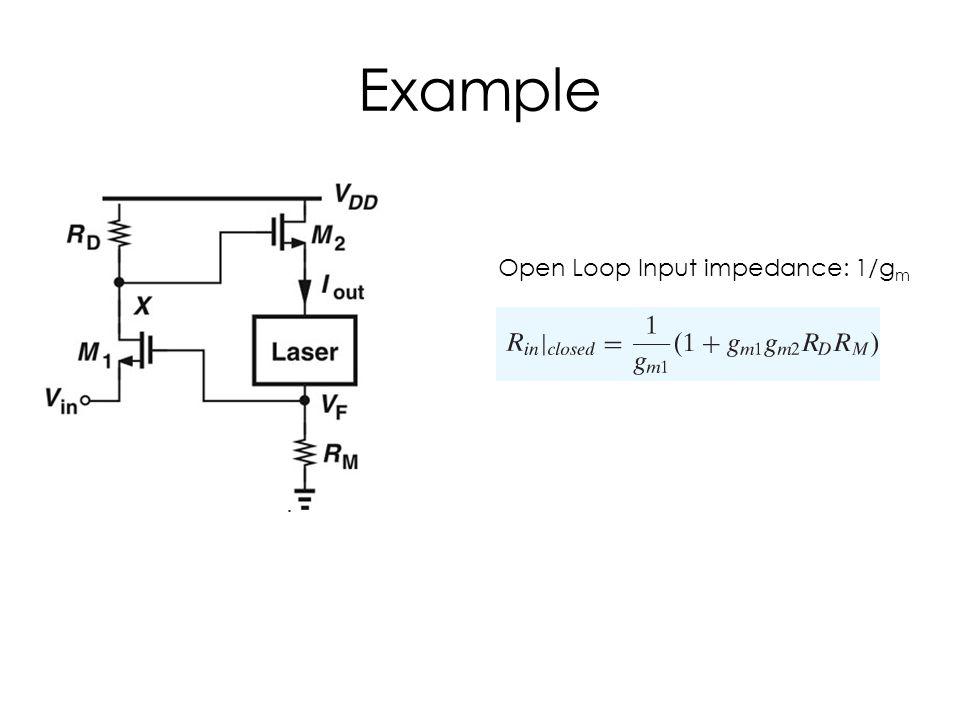 Example Open Loop Input impedance: 1/g m