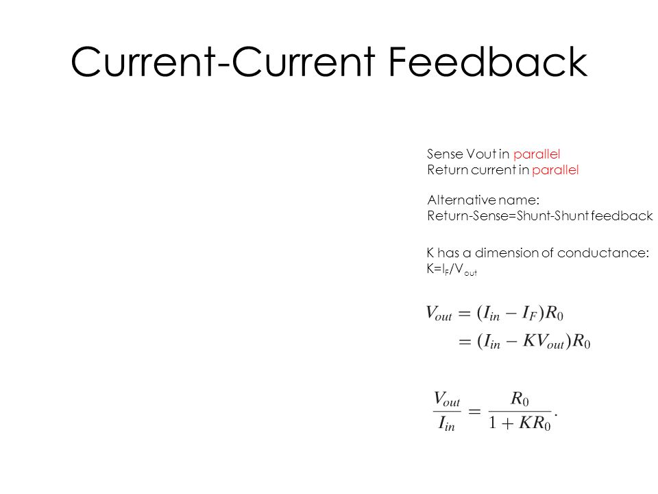 Current-Current Feedback Sense Vout in parallel Return current in parallel Alternative name: Return-Sense=Shunt-Shunt feedback K has a dimension of co