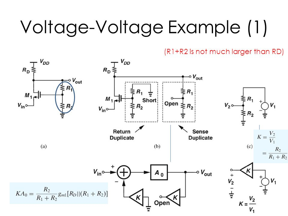 Voltage-Voltage Example (1) (R1+R2 is not much larger than RD)