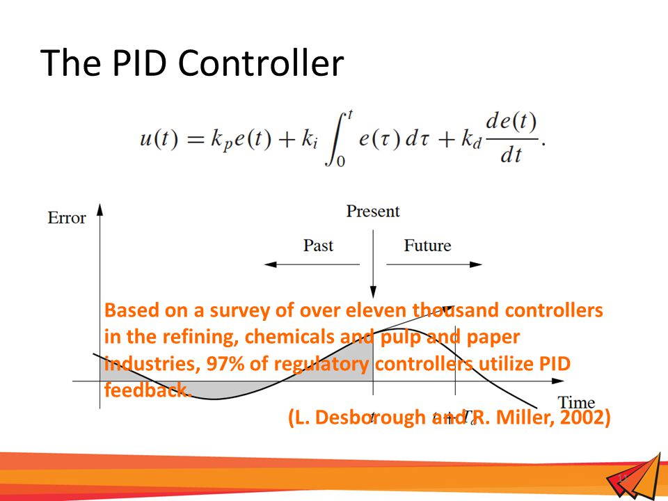 The PID Controller 11 Based on a survey of over eleven thousand controllers in the refining, chemicals and pulp and paper industries, 97% of regulatory controllers utilize PID feedback.