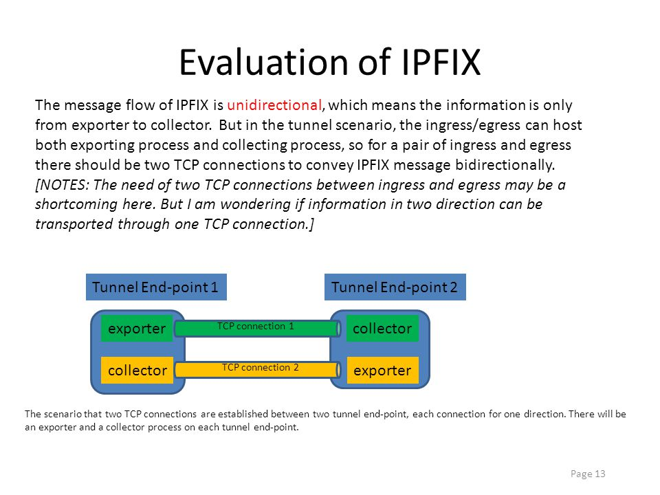 Page 13 Evaluation of IPFIX The message flow of IPFIX is unidirectional, which means the information is only from exporter to collector.