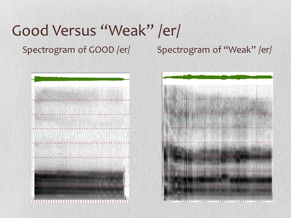 Good Versus Weak /er/ Spectrogram of GOOD /er/Spectrogram of Weak /er/