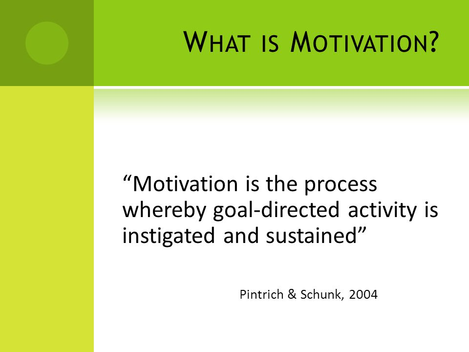 W HAT IS M OTIVATION ? Motivation is the process whereby goal-directed activity is instigated and sustained Pintrich & Schunk, 2004