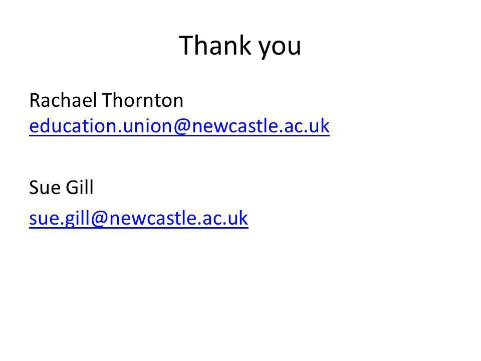 Thank you Rachael Thornton education.union@newcastle.ac.uk education.union@newcastle.ac.uk Sue Gill sue.gill@newcastle.ac.uk