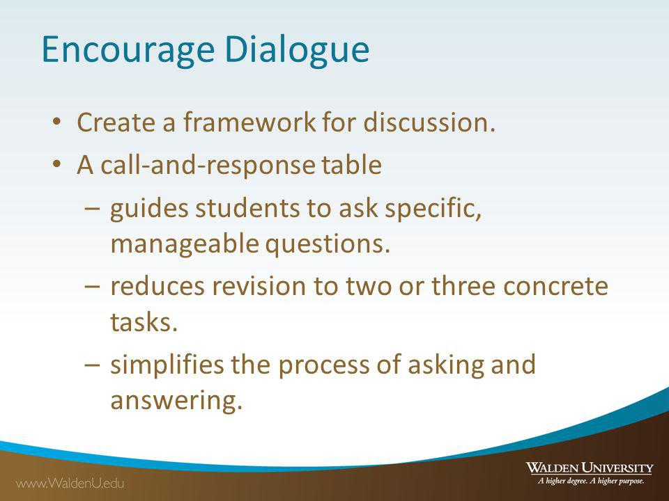 Encourage Dialogue Create a framework for discussion. A call-and-response table –guides students to ask specific, manageable questions. –reduces revis