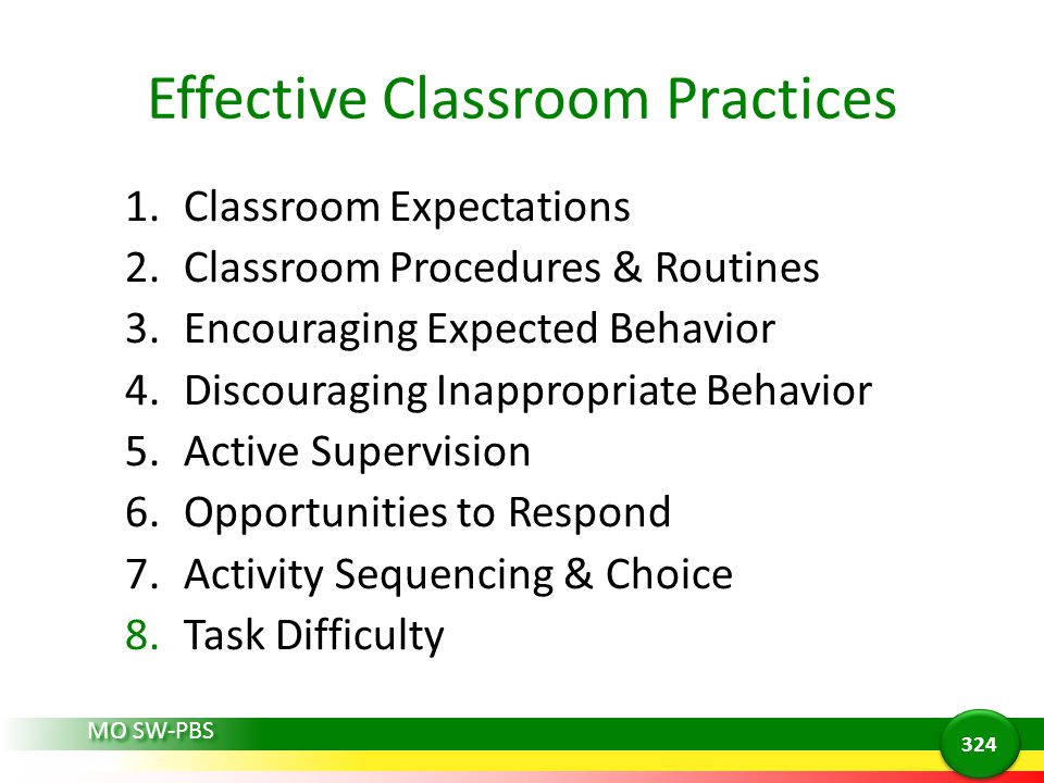 Effective Classroom Practices 1.Classroom Expectations 2.Classroom Procedures & Routines 3.Encouraging Expected Behavior 4.Discouraging Inappropriate