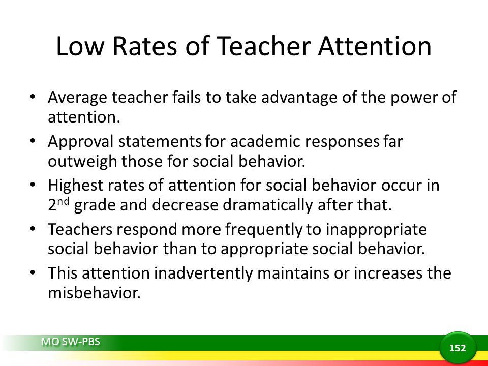 MO SW-PBS Low Rates of Teacher Attention Average teacher fails to take advantage of the power of attention. Approval statements for academic responses