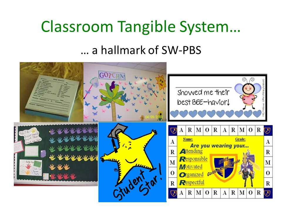 Classroom Tangible System… … a hallmark of SW-PBS