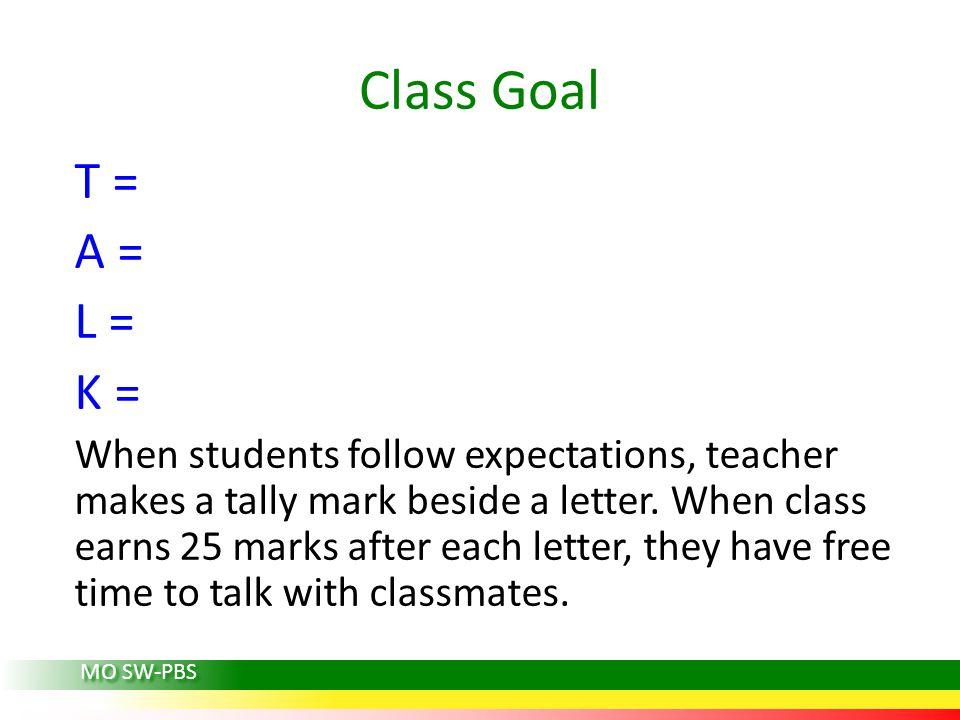 Class Goal T = A = L = K = When students follow expectations, teacher makes a tally mark beside a letter. When class earns 25 marks after each letter,