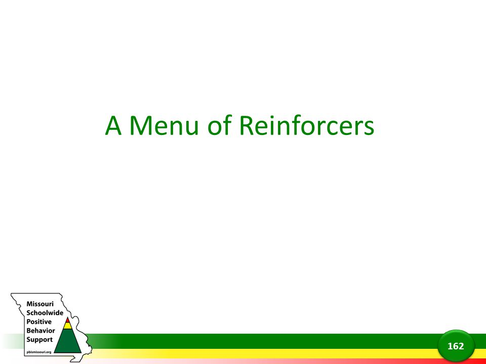 A Menu of Reinforcers 162