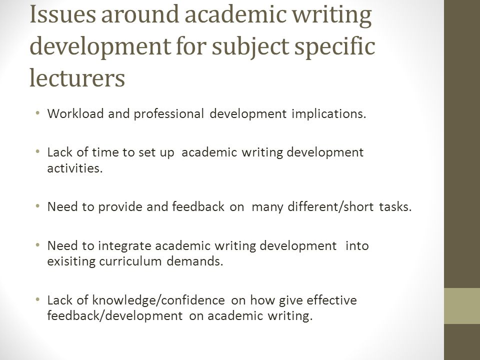 Issues around academic writing development for subject specific lecturers Workload and professional development implications.