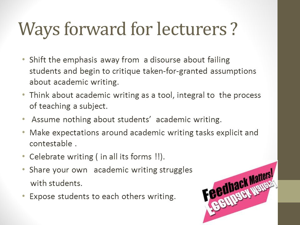 Ways forward for lecturers .