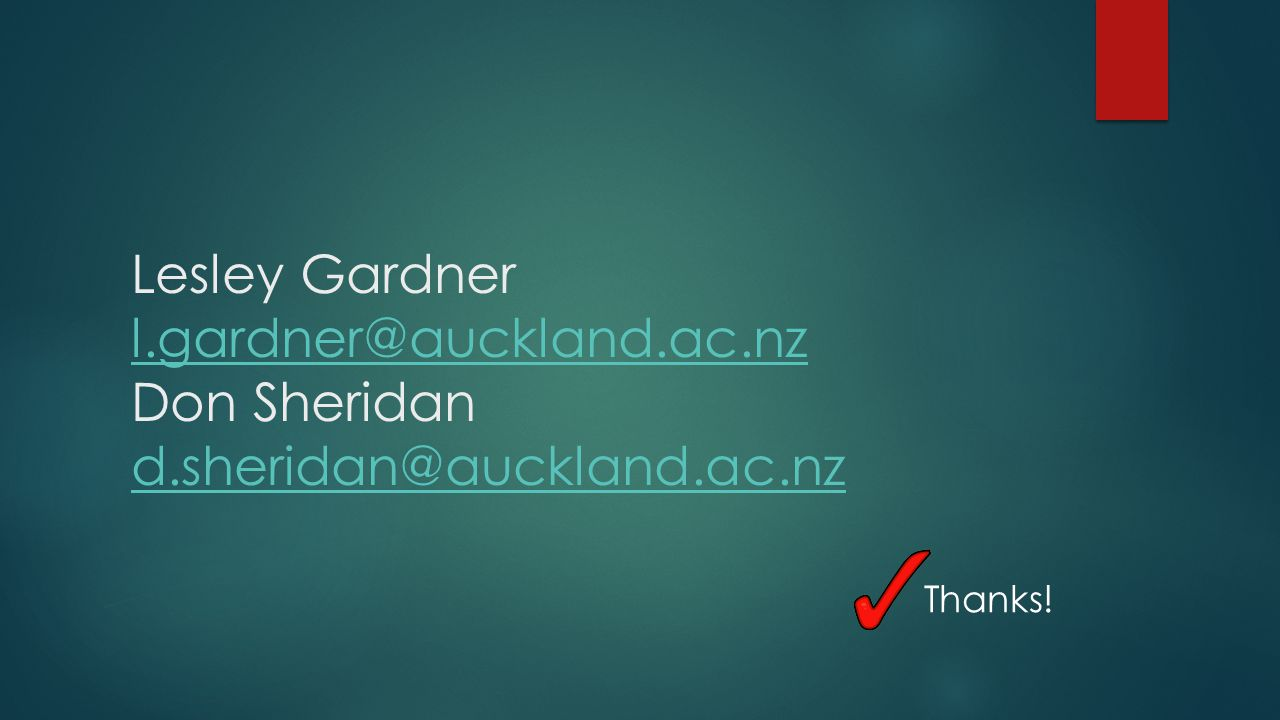 Lesley Gardner l.gardner@auckland.ac.nz Don Sheridan d.sheridan@auckland.ac.nz l.gardner@auckland.ac.nz d.sheridan@auckland.ac.nz Thanks!