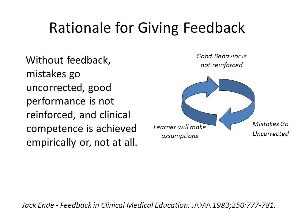 Rationale for Giving Feedback Without feedback, mistakes go uncorrected, good performance is not reinforced, and clinical competence is achieved empirically or, not at all.