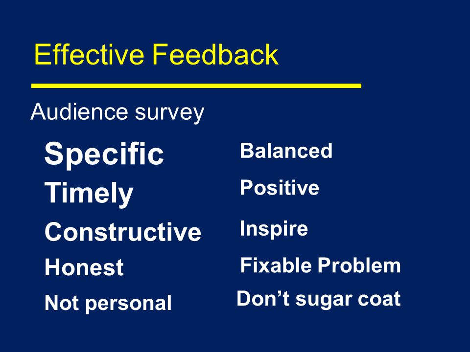 Effective Feedback Audience survey Inspire Specific Positive Fixable Problem Balanced Dont sugar coat Not personal Honest Constructive Timely