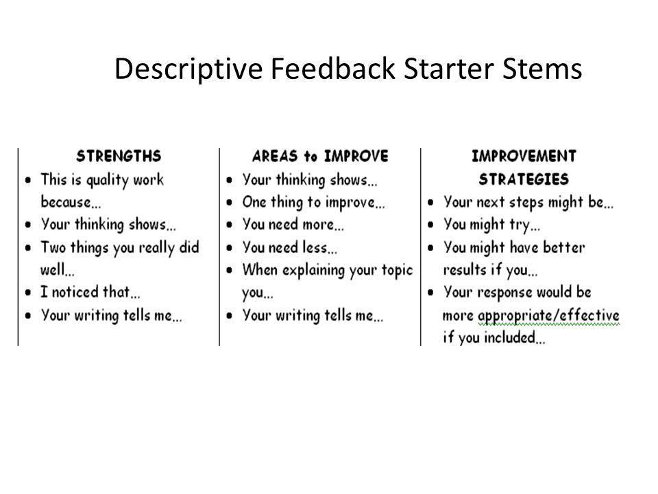 Descriptive Feedback Starter Stems
