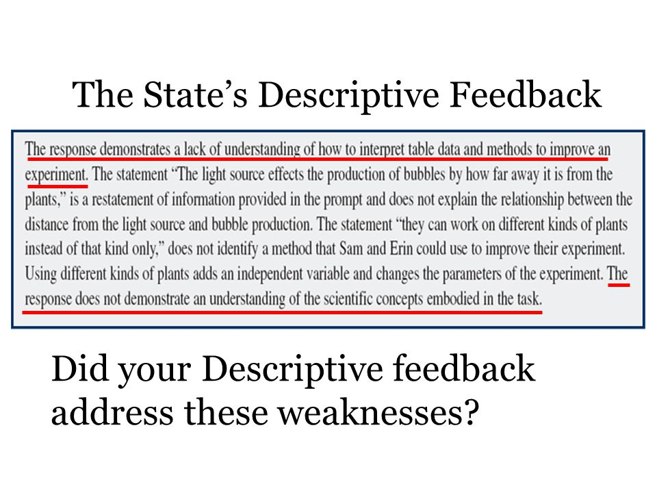 The States Descriptive Feedback Did your Descriptive feedback address these weaknesses?