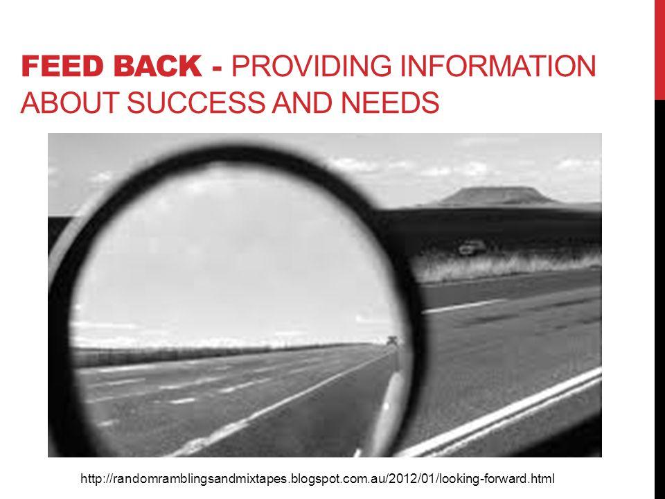 FEED BACK - PROVIDING INFORMATION ABOUT SUCCESS AND NEEDS http://randomramblingsandmixtapes.blogspot.com.au/2012/01/looking-forward.html