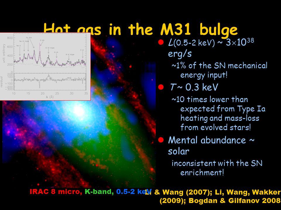 Hot gas in the M31 bulge L (0.5-2 keV) ~ 3 10 38 erg/s ~1% of the SN mechanical energy input.