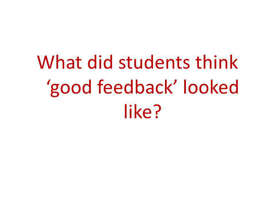 What did students think good feedback looked like