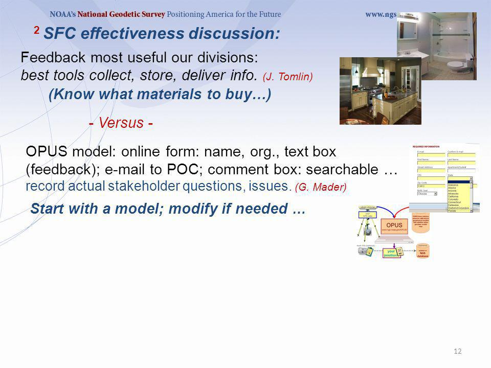 Feedback most useful our divisions: best tools collect, store, deliver info. (J. Tomlin) 12 (Know what materials to buy…) - Versus - OPUS model: onlin