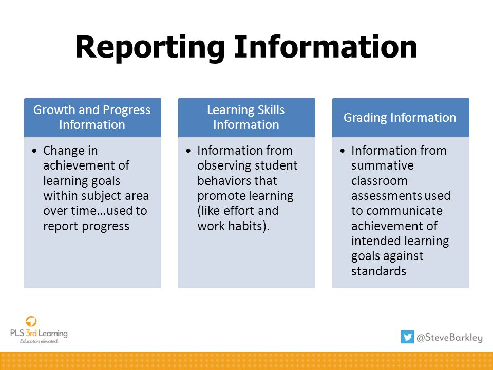 Reporting Information Growth and Progress Information Change in achievement of learning goals within subject area over time…used to report progress Le