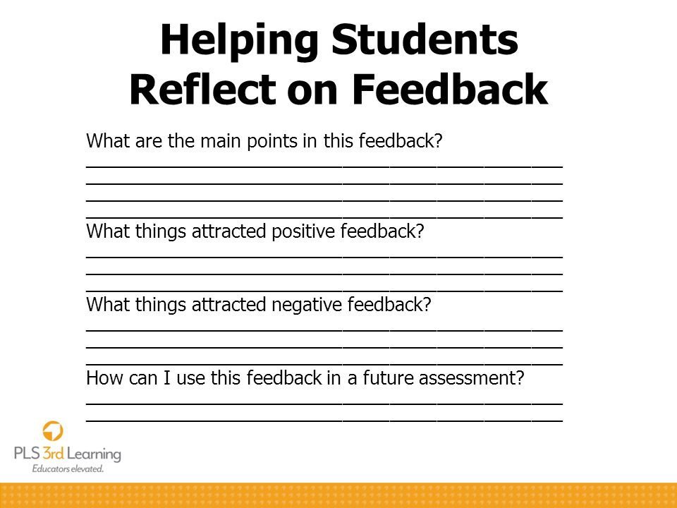 Helping Students Reflect on Feedback What are the main points in this feedback.