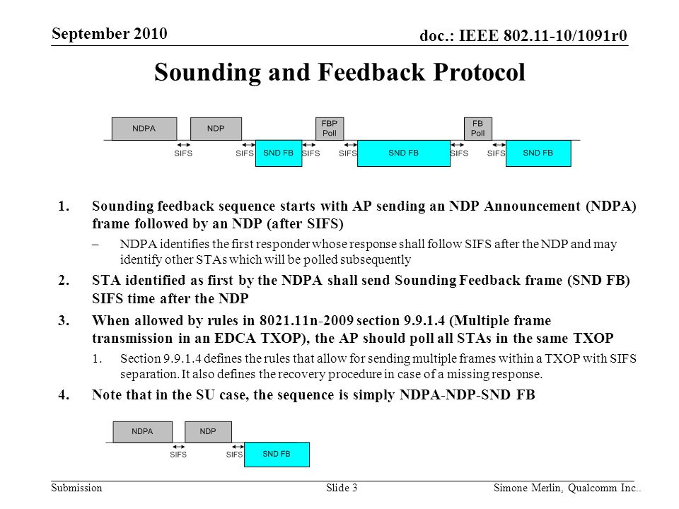 SubmissionSlide 3 Simone Merlin, Qualcomm Inc.. doc.: IEEE 802.11-10/1091r0 September 2010 Sounding and Feedback Protocol 1.Sounding feedback sequence