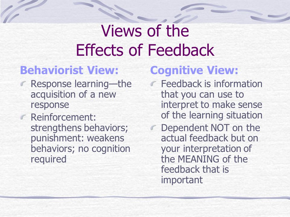 Views of the Effects of Feedback Behaviorist View: Response learningthe acquisition of a new response Reinforcement: strengthens behaviors; punishment: weakens behaviors; no cognition required Cognitive View: Feedback is information that you can use to interpret to make sense of the learning situation Dependent NOT on the actual feedback but on your interpretation of the MEANING of the feedback that is important