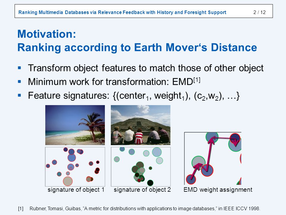 Ranking Multimedia Databases via Relevance Feedback with History and Foresight Support / 12 Transform object features to match those of other object Minimum work for transformation: EMD [1] Feature signatures: {(center 1, weight 1 ), (c 2,w 2 ), …} signature of object 1 signature of object 2 EMD weight assignment Motivation: Ranking according to Earth Movers Distance 2 [1] Rubner, Tomasi, Guibas, A metric for distributions with applications to image databases, in IEEE ICCV 1998.