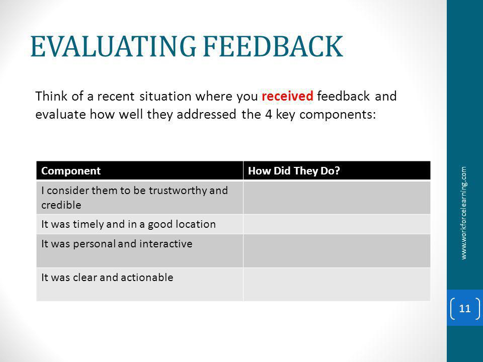 EVALUATING FEEDBACK Think of a recent situation where you received feedback and evaluate how well they addressed the 4 key components: www.workforcelearning.com 11 ComponentHow Did They Do.