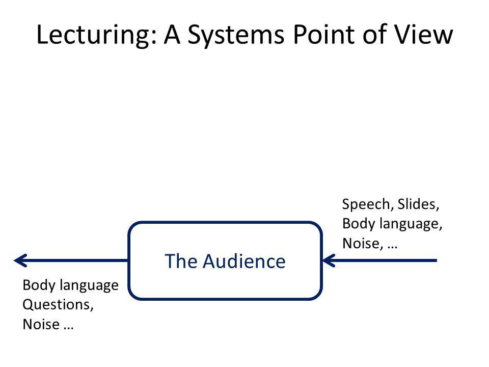 Lecturing A Systems Point of View The Lecturer Slides, Speech, Body language System (box in a system diagram) = Object that takes actions, produces, transforms things Signals (arrows in a systems diagram, connected to systems) = Things observed or used by a system (inputs); or produced by or measured from a system (outputs); the arrows matter.