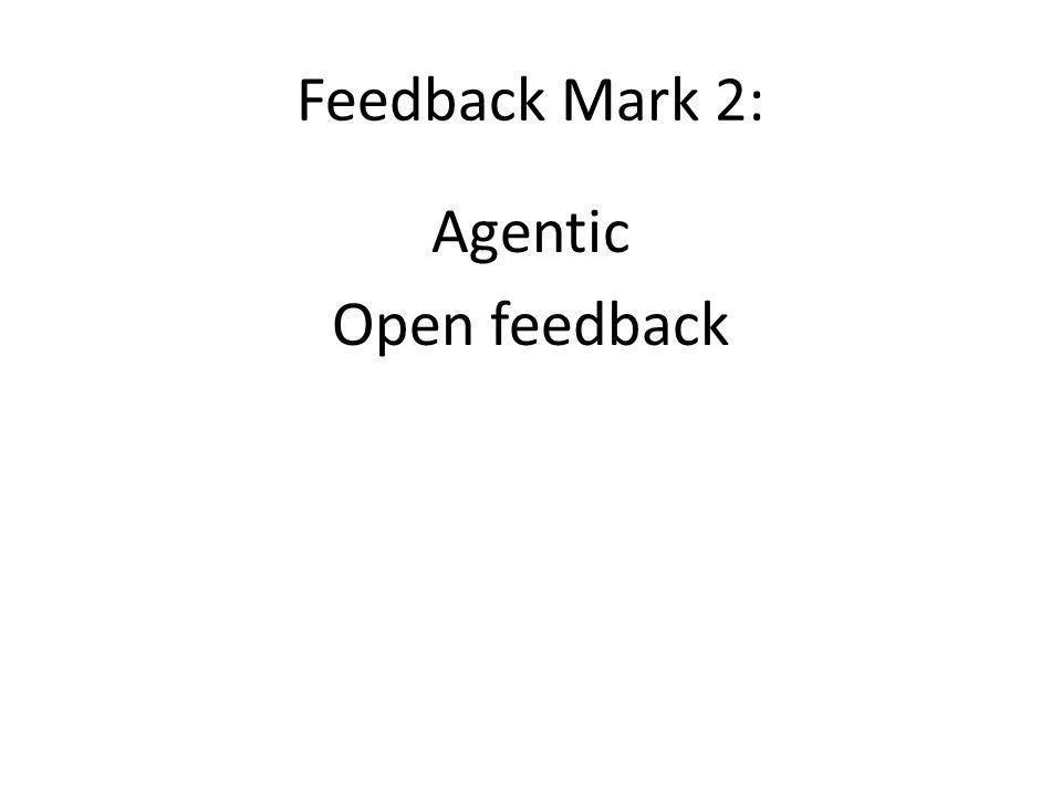 Feedback Mark 2: Agentic Open feedback