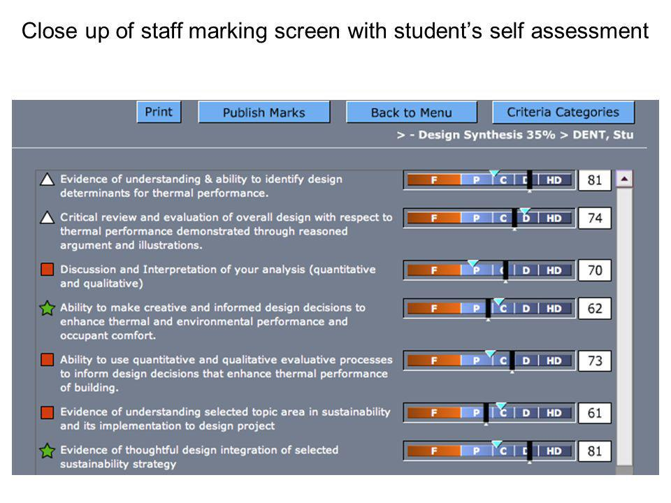 Close up of staff marking screen with students self assessment