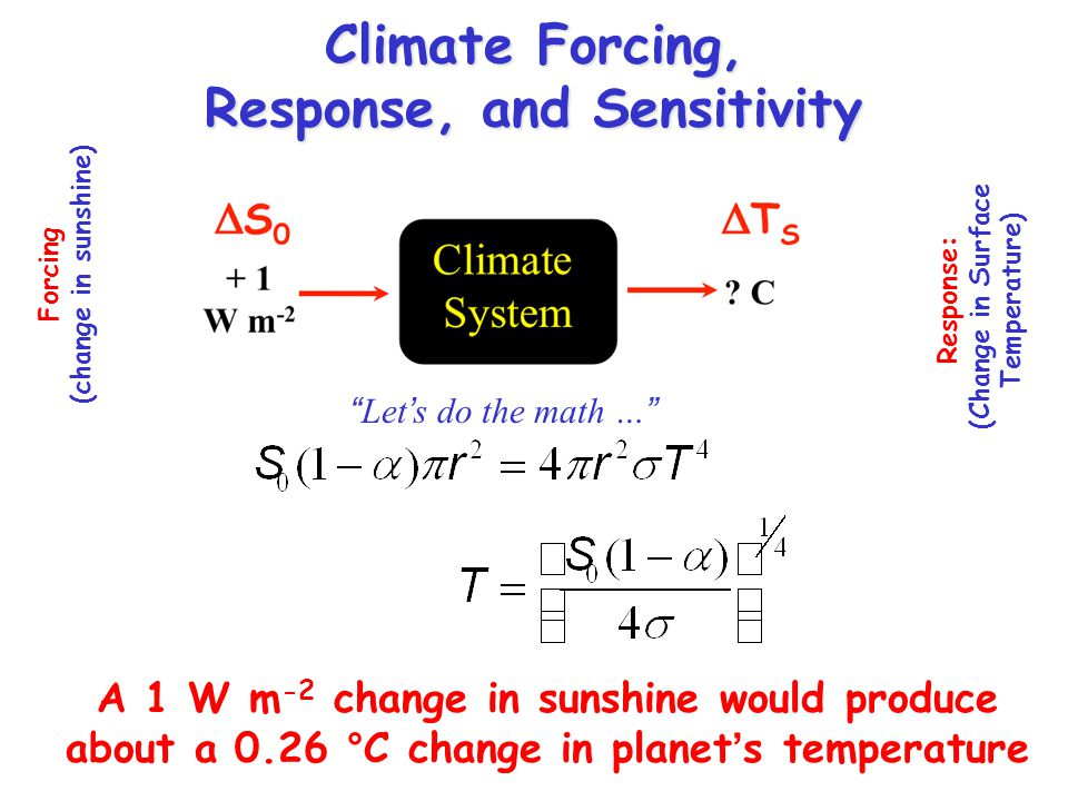 Forcing (change in sunshine) Response: (Change in Surface Temperature) Climate Forcing, Response, and Sensitivity Lets do the math … A 1 W m -2 change in sunshine would produce about a 0.26 °C change in planets temperature