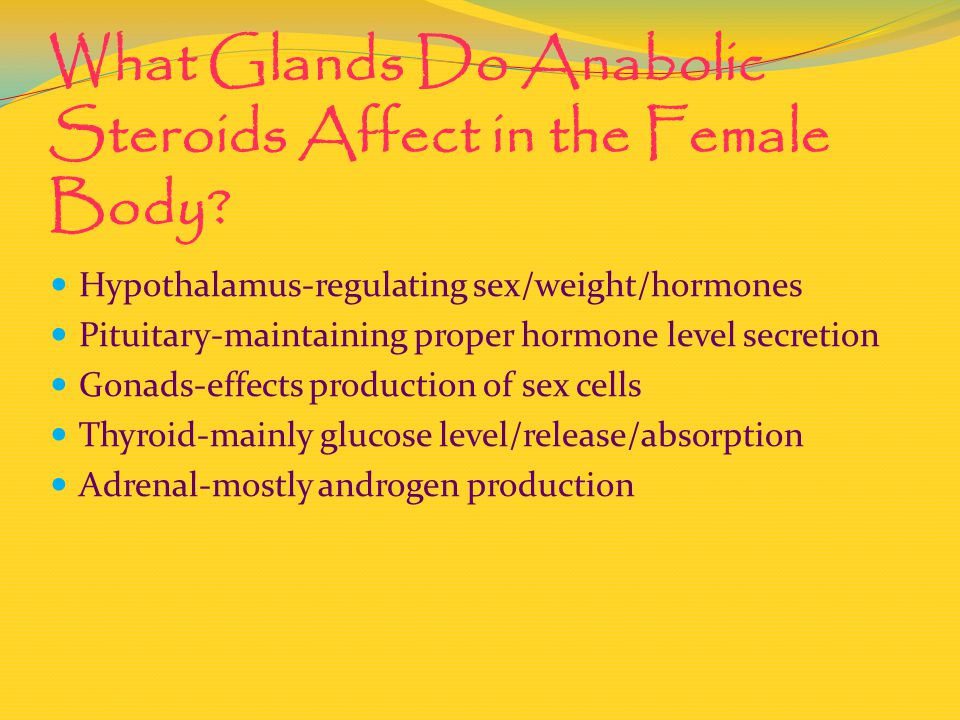 What Glands Do Anabolic Steroids Affect in the Female Body? Hypothalamus-regulating sex/weight/hormones Pituitary-maintaining proper hormone level sec