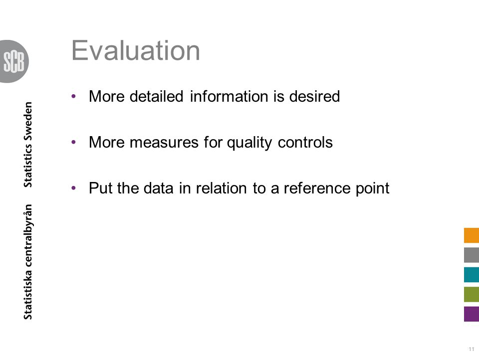 Evaluation More detailed information is desired More measures for quality controls Put the data in relation to a reference point 11