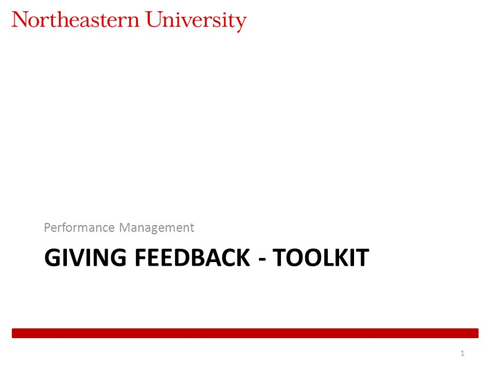 GIVING FEEDBACK - TOOLKIT Performance Management 1