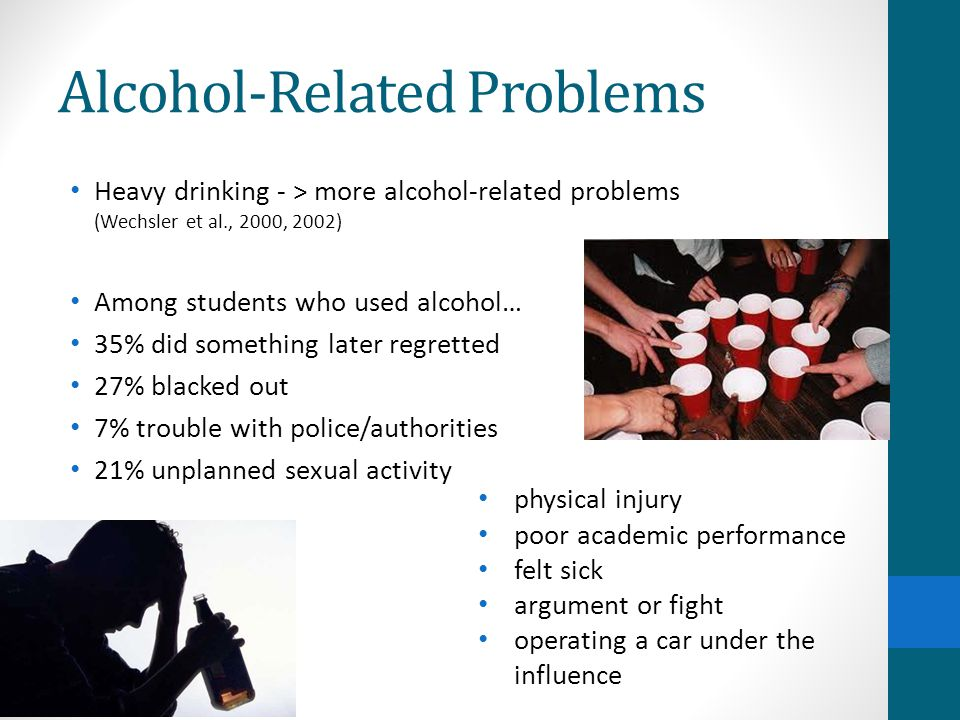Alcohol-Related Problems Heavy drinking - > more alcohol-related problems (Wechsler et al., 2000, 2002) Among students who used alcohol… 35% did something later regretted 27% blacked out 7% trouble with police/authorities 21% unplanned sexual activity physical injury poor academic performance felt sick argument or fight operating a car under the influence