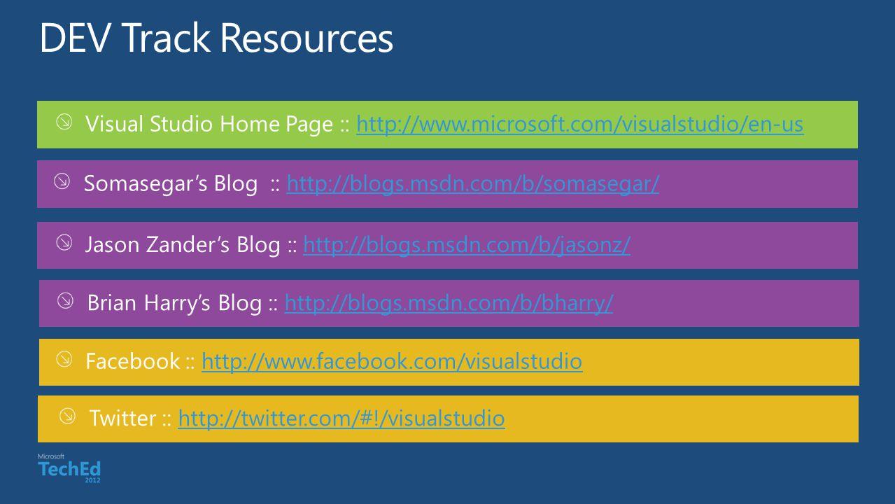 Visual Studio Home Page :: http://www.microsoft.com/visualstudio/en-ushttp://www.microsoft.com/visualstudio/en-us Jason Zanders Blog :: http://blogs.m