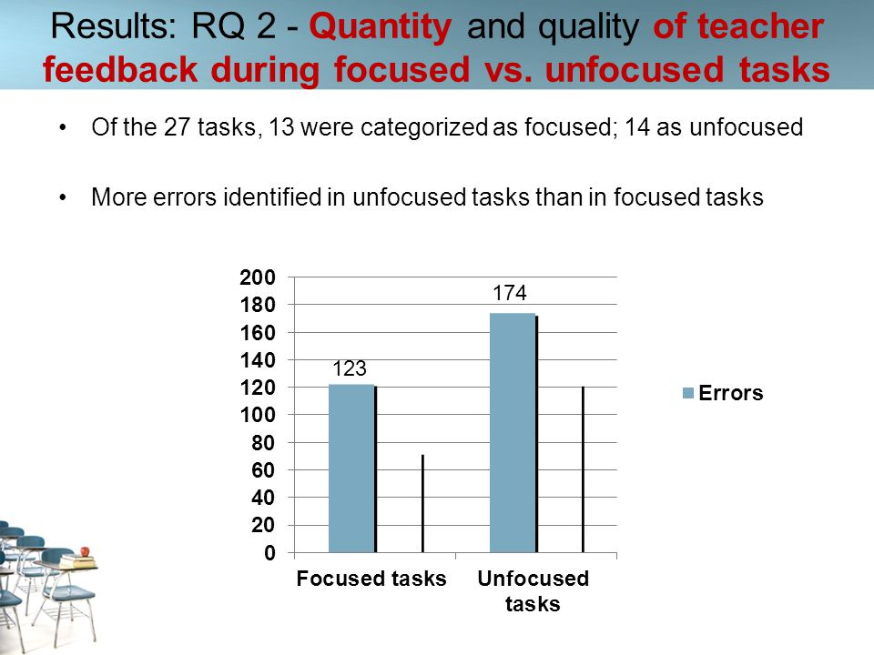 Of the 27 tasks, 13 were categorized as focused; 14 as unfocused More errors identified in unfocused tasks than in focused tasks Results: RQ 2 - Quant