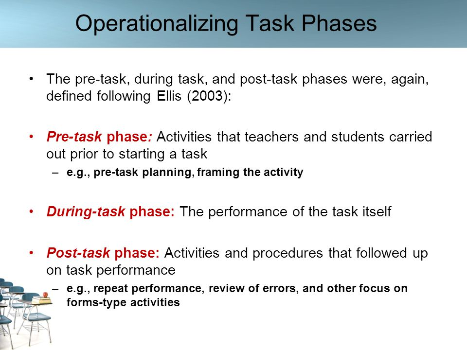Rationale for Investigating Task Phases Our rationale for investigating these three task phases was two-fold: (1) Given the distinct aims and nature of the pre-, during, and post- task stages, they are likely to engage teachers and students in different interactional and cognitive processes –These, in turn, are expected to affect the patterns of teacher feedback provision (2) When designing task-based or task–supported lessons, teachers widely use this three-phase task cycle (Ellis, 2003; Samuda & Bygate, 2008; Willis, 1996) –But despite its wide appeal among practitioners, the framework has been subjected to little empirical research to date