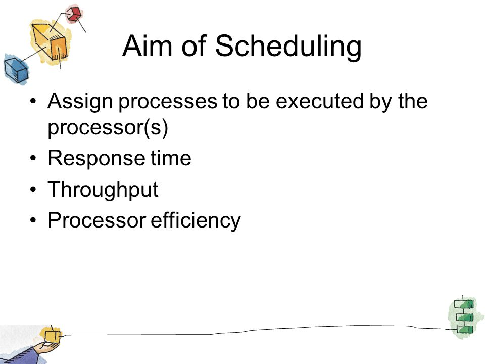 Aim of Scheduling Assign processes to be executed by the processor(s) Response time Throughput Processor efficiency