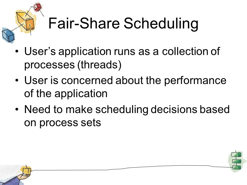 Fair-Share Scheduling Users application runs as a collection of processes (threads) User is concerned about the performance of the application Need to